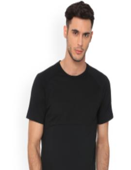 Men Black Solid Round Neck Evostripe Lite T Shirt by Puma
