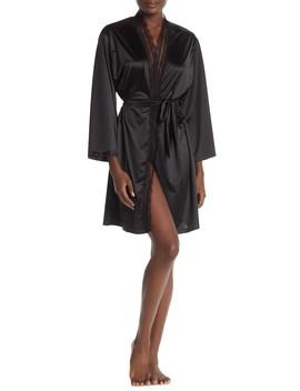 Lace Trim Satin Short Robe by Jason Wu