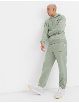 Nike Sb Fleece Hoodie With Pocket In Khaki by Nike Skateboarding