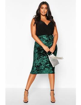 Plus Crushed Velvet Midi Skirt by Boohoo