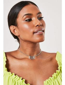 Silver Look Rhinestone Baby Choker by Missguided