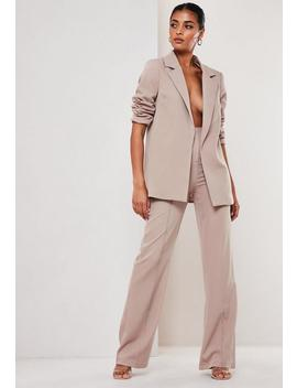 Mauve Co Ord Seam Detail Straight Leg Trousers by Missguided
