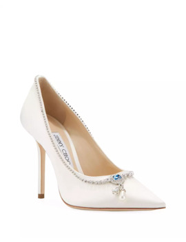 Love 100mm Crystal Neck Satin Cocktail Pumps by Jimmy Choo