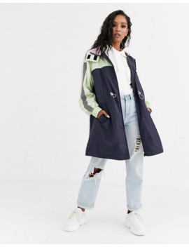 Asos Design Panelled Raincoat With Reflective Taping by Asos Design