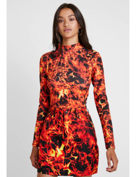 Exclusive High Neck Flame Print   Longsleeve by Jaded London