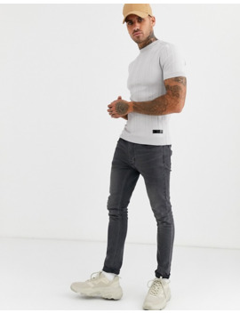 River Island Knitted T Shirt In Gray With Wide Rib by River Island