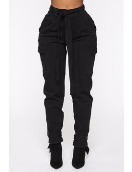 No Ties Love Cargo Pants   Black by Fashion Nova