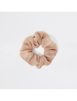 Light Beige Glitter Scrunchie by River Island