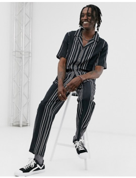 Sacred Hawk Tapered Pants In Black Stripe by Sacred Hawk's