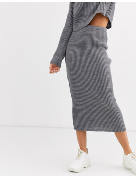 Missguided Tall   Jupe D'ensemble Longueur Mollet En Maille   Gris by Missguided