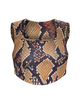 Khaki Scuba Snake Print Curve Hem Crop Top by Prettylittlething