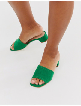 Miss Selfridge Mules With Low Heel In Green by Miss Selfridge