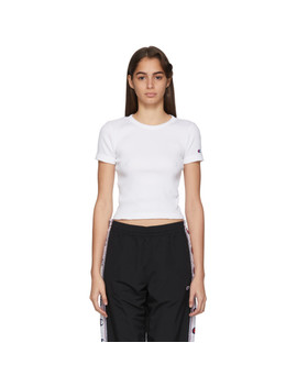 White Ribbed Logo T Shirt by Champion Reverse Weave