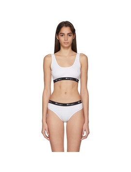 White Ribbed Bra Top by Champion Reverse Weave