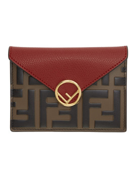 Brown & Red 'forever Fendi' Envelope Pouch by Fendi