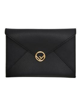 Black Medium 'f Is Fendi' Envelope Pouch by Fendi