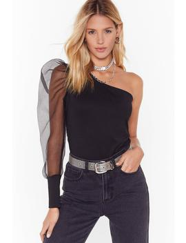 What A Mesh One Shoulder Organza Top by Nasty Gal