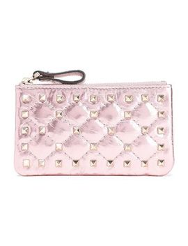 Rockstud Spike Quilted Metallic Cracked Leather Pouch by Valentino Garavani