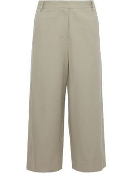 Margaux Cropped Cotton Twill Wide Leg Pants by Tibi