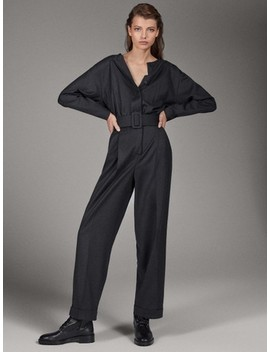 Limited Edition 100% Wool Jumpsuit With Belt by Massimo Dutti
