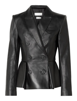 Double Breasted Pleated Leather Blazer by Alexander Mc Queen