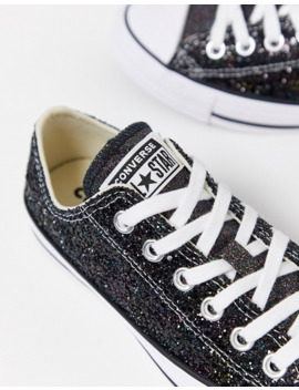 Converse Chuck Taylor Ox Black Sparkle Glitter Trainers by Converse