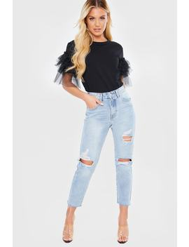 Light Wash Denim Ripped Detail Fray Hem Mom Jeans by In The Style