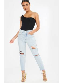 Blue Ripped Detail Frayed Hem Jeans by In The Style