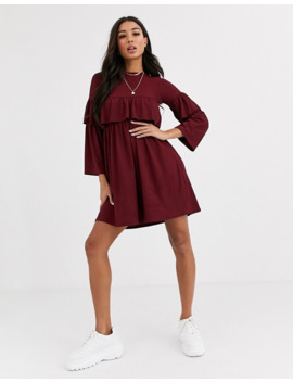 Boohoo Exclusive Ribbed Smock Dress With Ruffle Sleeves In Burgundy by Boohoo