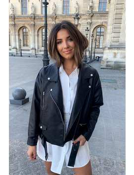 Stephsa Black Oversized Faux Leather Jacket by In The Style