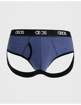 Asos Design Jock Strap In Light Blue Marl Organic Cotton With Branded Waistband by Asos Design