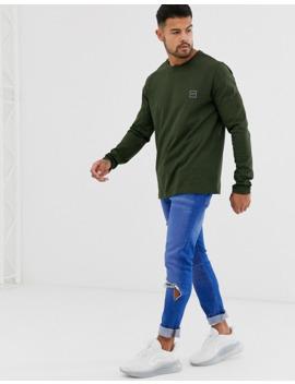 Boss Tacks Small Logo Long Sleeve T Shirt In Khaki by Boss