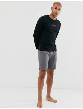 Emporio Armani Slim Fit Eva Eagle Logo Long Sleeve Lounge T Shirt In Black by Emporio Armani