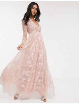 Needle &Amp; Thread Embroidered Floral Lace Maxi Dress In Dusty Pink by Needle & Thread