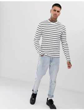 Levi's Small Batwing Logo Hose Stripe Long Sleeve Top In White/Mineral Black by Levi's