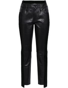 Suede Trimmed Leather Straight Leg Pants by Frame