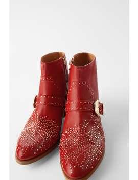 Lederstiefelette Mit Cowboyabsatz Und Kleinen Nieten by Zara