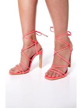 Neon Pink Patent Strappy Heel Sandals by Quiz
