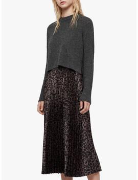 All Saints Leowa Leopard Print Pleated Jumper Dress, Charcoal/Pewter by Allsaints