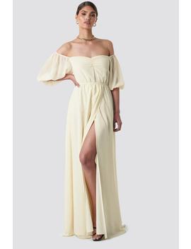 Off Shoulder Puffy Sleeve Maxi Dress Jaune by Tinamariaxnakd