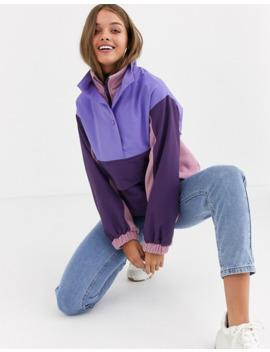 Asos Design Blocked Fleece Jacket With Nylon Patching by Asos Design
