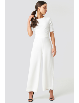 High Waist Wide Cropped Pants Blanc by Na Kd Trend
