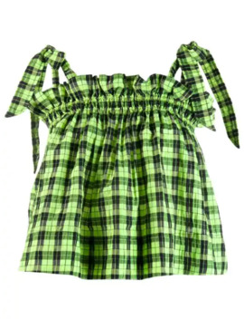 Checked Ruffle Top by Ganni