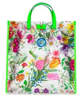 Flora Print Tote Bag by Gucci
