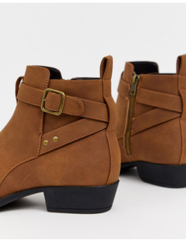 Asos Design Stacked Heel Chelsea Boots In Tan Faux Suede With Buckle Detail by Asos Design
