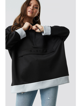 Oversize Pouch Pocket Hoodie Noir by Na Kd