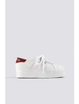 Leather Flatform Sneaker Blanc by Supergaxnakd