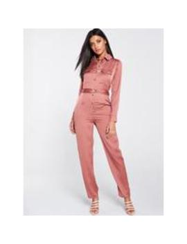 Satin Utility Jumpsuit   Blush by V By Very