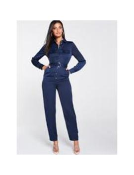 Satin Utility Jumpsuit   Navy by V By Very