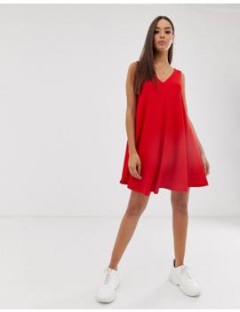 Asos Design Sleeveless Textured Mini V Neck Swing Dress by Asos Design